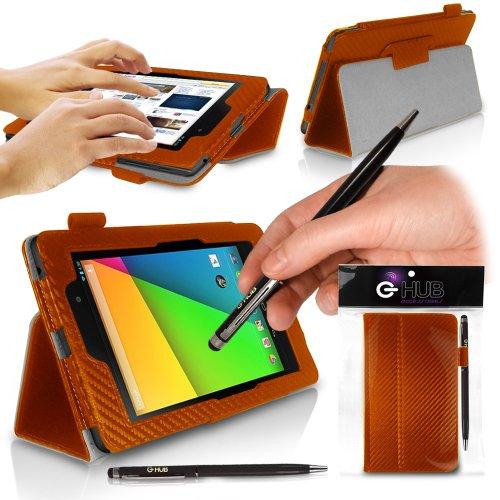 G-HUB N72BASCF1CASE Tablet-Schutzhülle, Pour NOUVELLE Nexus 7 ii (2013),  - Orange FIBRE DE CARBONE