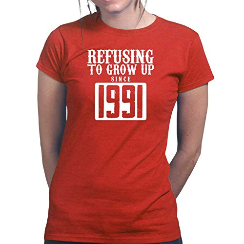 Womens Refusing to Grow Up Funny Sarcastic Ladies T Shirt (Tee, Top) Red