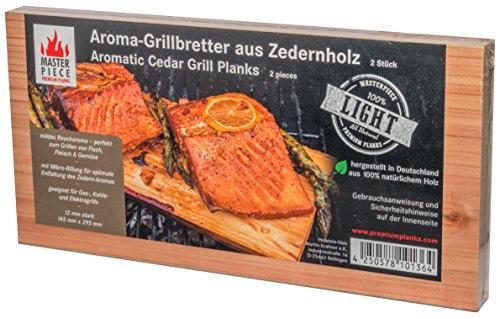 Premiumqualität Grillbretter Räucherbrett Grillplanke Zedernholz unbehandelt Räucherplanke BBQ 12 mm 'light' 2er Set Gasgrill Fisch Lachs