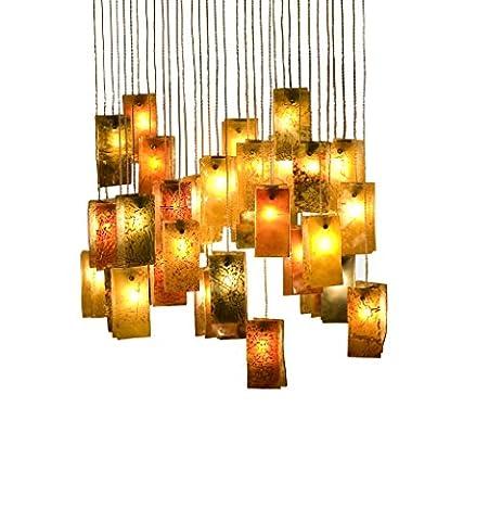 décoratifs en verre Lustre pour salle à manger ou salon, EN Couleurs chaudes The Fall 36, fabriqué à la main par un Artiste pour Homy et Atmosphère chaleureuse