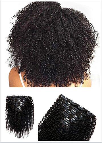 Lot de 8 Clips de boucles Afro frisées en extension de cheveux humains Cat. 8A Cheveux non traités vierges 30,4–71,1 cm Tête complète