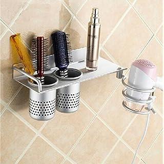 Wall Mounted aluminum Bathroom shelf hair dryer rack with 2 cups hair dryer rack Households Rack Hair Blow Dryer Holder