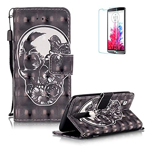 LG K7/ LG K8 Case Cover [with Free Screen Protector], Funyye Practical Fashionable New 3D Patterns PU Folio Leather Wallet Designer Flip Magnetic with [Wrist Strap] and [Card Holder Slot] Shock Absorber Full Body Protection Holster Case Cover Skin Shell for LG K7/ LG K8 - Ghost and Flowers
