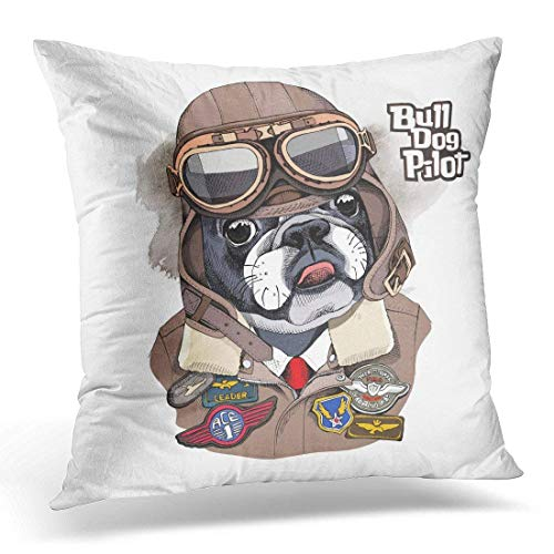 Yuerb kissenbezüge Brown Dog Portrait of The French Bulldog in Aviator Helmet and Jacket with Sewing Patch Military Decorative Pillow Case Home Decor Square 18x18 Inches Pillowcase Black Aviator Jacket