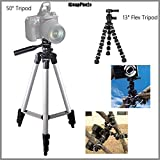 iSnapPhoto Durable 13 Flexible Tripod + Beginner 50 Tripod Bundle for Olympus C-21 - Portable Tripod, Flexible Legs Camera Support