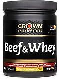 Crown Sport Nutrition Beef & Whey Proteína de Carne y Leche, Suplemento para Deportistas, Sabor de Vainilla - 486 gr