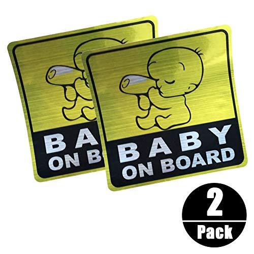 Autocollant Réfléchissant de voiture de BABY ON BOARD, Autocollants de Signe de Sécurité de voiture Autocollant Graphique de Véhicule de bébé (2pièces)