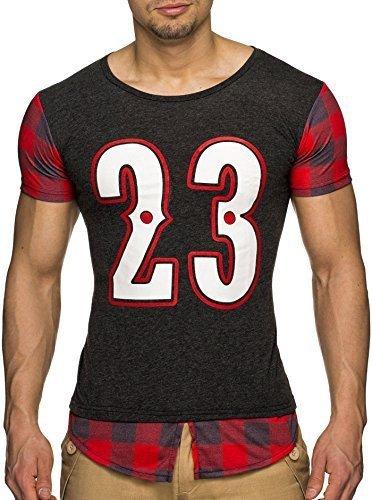 LEIF NELSON Herren T-Shirt LN20150237 (S, Anthrazit) | 04250863645115
