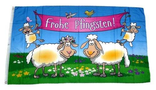 Fahne / Flagge Frohe Pfingsten Lämmer 90 x 150 cm - Lamm-fan