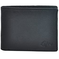 Gentleman Genuine Leather Wallet (Black) Bi-Fold With 6 Card Slots