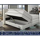 boxspringbett 180x200 wei mit bettkasten led kopflicht. Black Bedroom Furniture Sets. Home Design Ideas