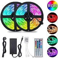 10M Tiras LED RGB 5050,Tomshine 300 LEDs Tiras LED de Luces Kit con Control Remoto IR de 44 Teclas,Impermeable IP65,Adaptador de Alimentación 12V 6A,Luces Led Decoracion para el Hogar,Cocina,Navidad