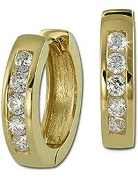 SilberDream Ohrschmuck Creole - vergoldet - Zirkonia weiß - Ohrring aus 925er Sterling Silber SDO0045WY