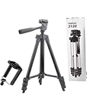 VRJTEC 3120 Tripod Stand for Phone and Camera Adjustable Aluminium Alloy Tripod Stand Holder for Mobile Phones & Camera,Photo/Video Shoot,TIK Tok/YouTube Videos with Mobile Clip Holder Bracket. (Premium 3120 Model)
