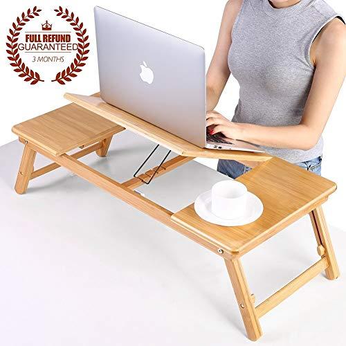 JIAQI Praktischer Multifunktionstisch Leqi Life Bamboo Laptop Stand Tisch Klapptisch Höhenverstellbar Laptop Bett Tablett Mit Schublade Stilvoller und Raffinierter Lesetisch A ++