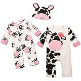 Happy cherry - Set de 3 Pijamas Monos Largos Ropas de Dormir para Bebés de Algodón Disfraces Animales 2pcs Pijamita + 1pcs Gorrita -Panda Vaca Cebra -Talla 1-3 meses 3-6 meses 6-9 meses 9-12 meses