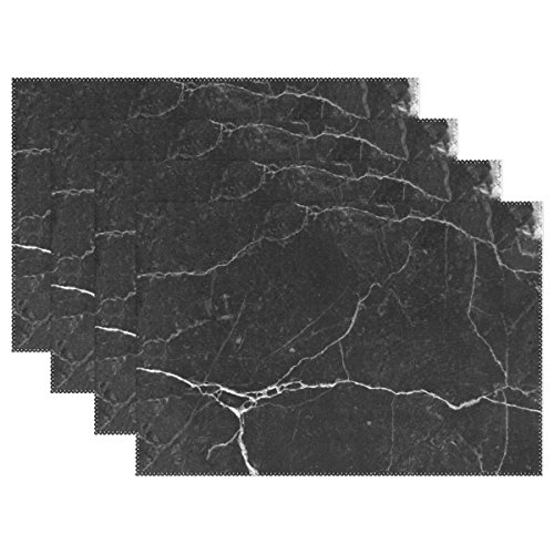 My Daily Marmor und Rock Crack Linien Abstrakt Tischsets für Esstisch Set von 4hitzebeständig waschbar Polyester Küche Tisch MATS, Polyester, multi, 12 x 18 in