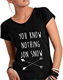 T-shirt DONNA cotone fiammato Scollo ampio a taglio vivo - YOU KNOW NOTHING JON SNOW divertenti humor MADE IN ITALY (M, NERO)