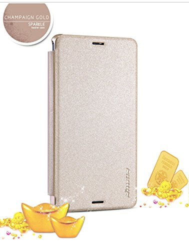 For Sony Xperia Z3 Compact Mini Sparkle Hard Back Flip Case Cover with Window by NILLKIN - Gold  available at amazon for Rs.555