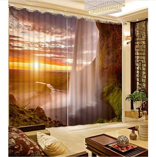 WKJHDFGB 3D Vorhang Moderne Schöne Farben Wasserfall Vorhänge Für Wohnzimmer Landschaft Vorhang Benutzerdefinierte Jede Größe Blackout Drapiert 245X340Cm