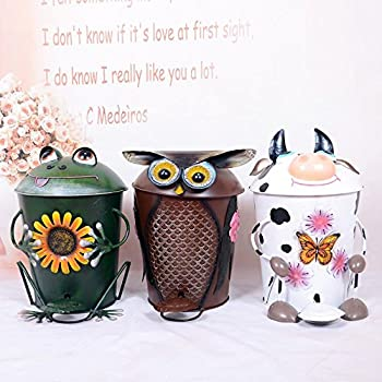 Mnii Creative Iron Crafts Handmade Cute Animals Fingers Trash Houses Household Villas Toilet Ashtrays Fruit Bags , Owl- Quality Assurance 2