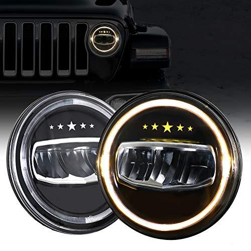 AAIWA Faro Principale LED per Jeep Wrangler 7' 70W Faro Rotondo Daytime Running Light DRL Angolo Basso Angolo Ambra Angolo Occhi per JK TJ LJ Moto con Adattatore H4 H13 Confezione da 2 Pezz