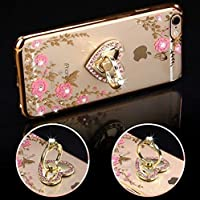 Funda iPhone 7 Plus & iPhone 8 Plus ,Carcasas para iPhone 7/8 Plus de Silicona , ETSUE iPhone 7/8 Plus Ultra Delgado Transaprente Crystal Clear Funda de Gel de Suave Flexible TPU Funda + 360° Soporte de Móvil , Bling Bling Plating Diamante Anillo Lujo Glitter Sparkle Brillante Brillo Paillettes Funda para iPhone 7/8 Plus Modernos Protección Delgada y Claridad Rosa Flor Elegante Diseño de 2017 Para Chica Mujeres Protectivo Carcasa Suave Gel Funda para iPhone 7 Plus & iPhone 8 Plus-Rosa Dorado