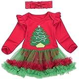 Bestow Tutú Mameluco Vestido Diadema Trajes De Navidad Ropa (6M, Rojo 2)