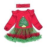 Bestow Tutú Mameluco Vestido Diadema Trajes De Navidad Ropa (12M, Rojo 2)