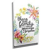 Ohana Family - Kunstdruck auf Leinwand (20x30 cm) zum Verschönern Ihrer Wohnung. Verschiedene Formate auf Echtholzrahmen. Höchste Qualität.