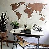 3D Weltkarte aus Holz - Mahagoni - Wall-Art - 150x74 cm