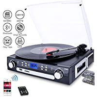 DIGITNOW! Plattenspieler Schallplattenspieler mit Stereo Lautsprechern ,Stützen Bluetooth   Kassette   AM / FM Radio   Vinyl to MP3 USB-Codierung   33/45/78 U/min   Aux in
