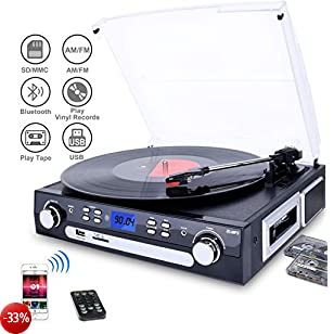 DIGITNOW! Giradischi con Altoparlanti Stereo a Tre Velocità Bluetooth Vinile Giradischi con USB/SD/MMC per codifica/AM / FM stereo radio/cassette tape/Aux in