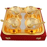 Adidev Silver And Gold Plated Brass Bowl Set With Serving Spoons And Designer Tray