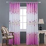 Modely Vorhang Schmetterling-Muster, Blickdicht Schlaufen Verdunkelungsgardinen Gardinen für Wohnzimmer, Schlafzimmer, 2 stücks, 100 * 200cm, Rosa