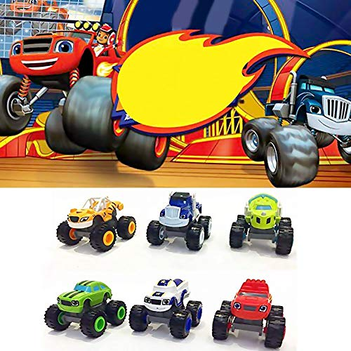Mallalah 6 Pack de Juguetes para niños y Monster Machines Super Stunts Blaze Kids Truck Car Coll Regalo para niños en cumpleaños Navidad Toys Juguetes para niños de 1 2 3 años