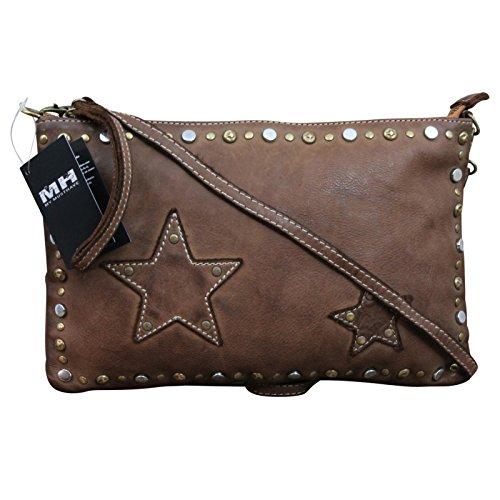 Fabriqué en Italie Clutch COSS Body Bag Look Usé Vintage en cuir marron