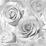 Muriva Madison glitzer Tapete funkeln Blumen Blumen Rose Blütenblätter geblasen Vinyl Silbern
