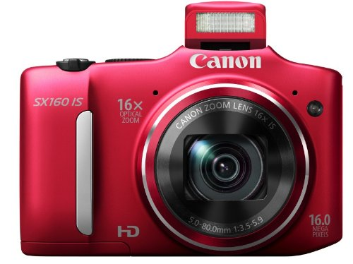 Canon PowerShot SX160 IS Digitalkamera (16 Megapixel, 16-fach opt. Zoom, 7,5 cm (3,0 Zoll) LCD) rot