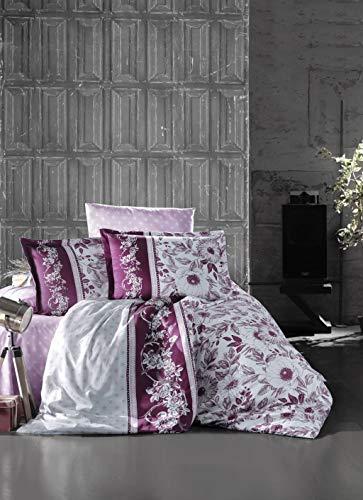 ZIRVEHOME Satin Bettwäsche 200x220 cm. 5 TLG. Set, Baumwollsatin, Blumen Muster, Violett Farbe, Reißverschluss, Queen Size, Model: Mocha V2 -