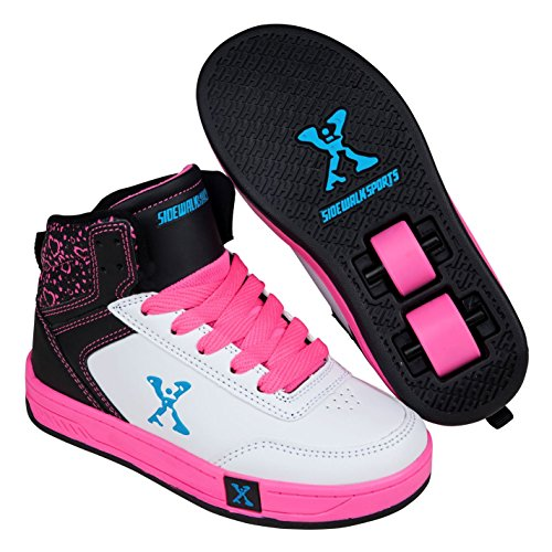 Sidewalk Sport Kinder Maedchen Hi Top Schuhe Mit Rollen Heelys Rollschuhe White/Blk/Pink 2 (34)