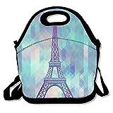 kkwodwcx Torre Eiffel con Fractal triángulo con aislamiento bolsa para el almuerzo Bolsas de picnic Gourmet bolsas de almuerzo reutilizables para trabajo de la escuela–mejor bolsa de viaje