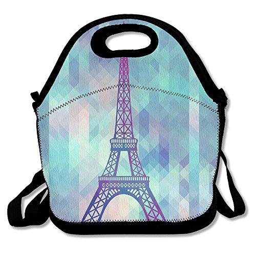 kkwodwcx Torre Eiffel con Fractal triángulo con aislamiento bolsa para el almuerzo Bolsas de picnic Gourmet bolsas de almuerzo reutilizables para trabajo de la escuela-mejor bolsa de viaje