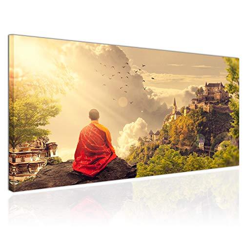 Topquadro XXL Wandbild, Leinwandbild 100x50cm, Meditation bei Sonnenuntergang, Tibetischer Mönch, Tempel Bergen - Panoramabild Keilrahmenbild, Bild auf Leinwand - Einteilig, Fertig zum Aufhängen