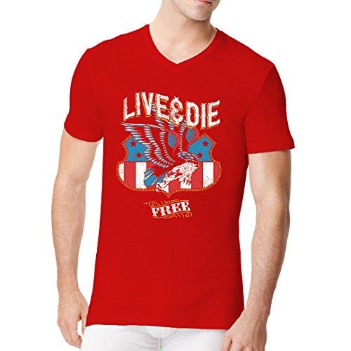 Biker Männer V-Neck Shirt - Live & Die Free Adler by Im-Shirt Rot