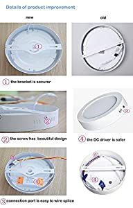 Household Surface Mounted Led Ceiling Lamps, 12W-3000K£¨Warm White) 6.69*6.69*1.5inches 960LM,High brightness Circular Led Panel Ceiling Light for Living Room,Bedroom,Kitchen,Kid's Room,office ,2 Years Warranty ¡ by W-LITE