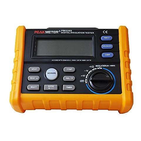 peakmeter MS5203Testeur de résistance d'isolement numérique Megger 1000V multimètre numérique