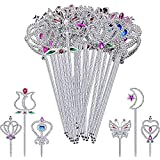 Partyhut® Girls Snow Queen Princess Unbreakable Quality Rhinestone Magic Wand Fancy Dress Party Wand (Pack of 6)