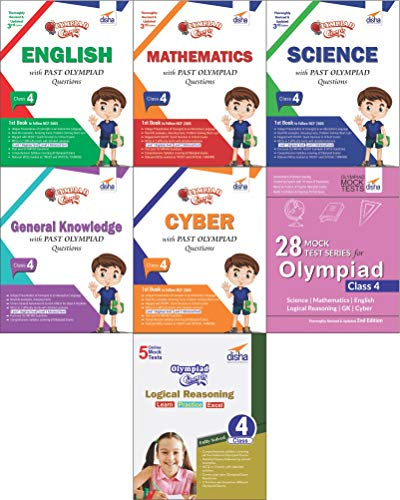 Olympiad Champs Science, Mathematics, English, Logical Reasoning, Cyber & GK Class 4 with 28 Mock Tests (Set of 7 Books)
