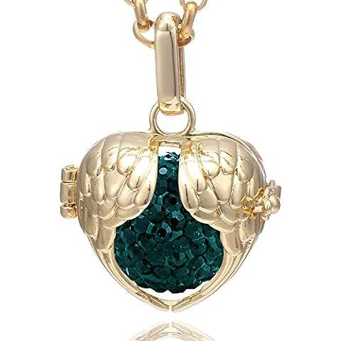 Morella collar de acero inoxidable dorado 70 cm con colgante alas de ángel de la guarda y bola de resonancia de circonita para damas en bolsa para joyas